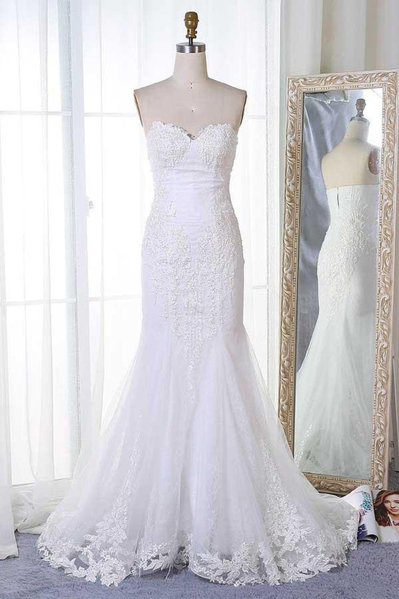 Anneprom Mermaid Sweetheart Sweep Train White Tulle Wedding Dress With Appliques APW0203