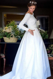 Anneprom A-Line Round Neck Backless Satin Wedding Dress With Sleeves APW0206