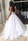 Anneprom Elegant Sweep Train Backless Wedding Dress With Lace Top Spaghetti Straps APW0208