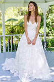 Anneprom A-Line Spaghetti Straps Backless Long Lace Wedding Dress APW0211