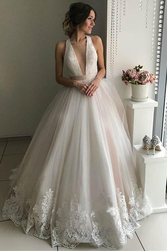 Anneprom Gorgeous V-Neck Sleeveless Tulle Wedding Dresses Bridal Gowns APW0223