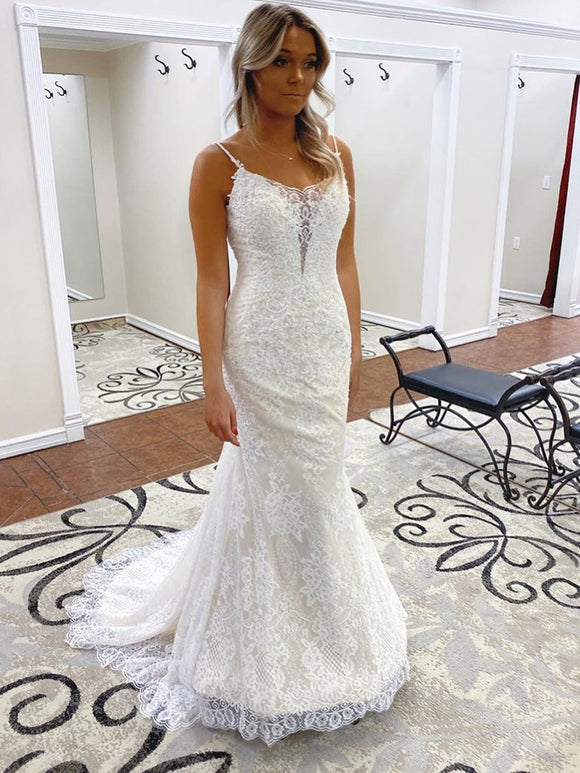 Anneprom Trumpet/Mermaid Spaghetti Straps Lace Bridal Gonws Backless Wedding Dress APW0231