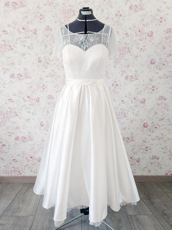 Anneprom Chic Tea Length Wedding Dresses A-line Half Sleeve Scoop Lace Wedding Dress APW0234