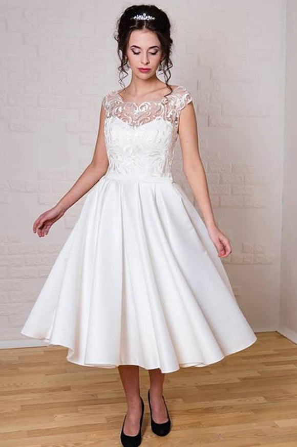 Anneprom Chic Tea Length Wedding Dresses A-line Scoop Applique Unique Wedding Dress APW0235