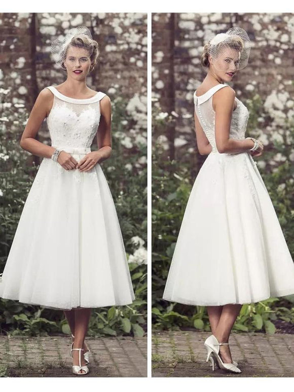 Anneprom Chic A-line Wedding Dresses Scoop Modest Ivory Tea Length Wedding Dress APW0236