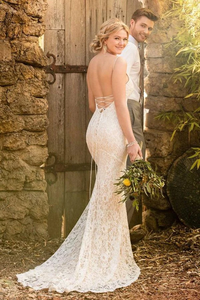 Anneprom Mermaid Spaghetti Straps Backless Ivory Lace Wedding Dress APW0238