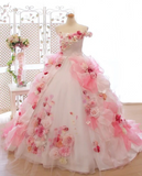 Anneprom Lace Pink 3D Flowers, Ball Gown, Organza Beaded O Neck wedding dress APW0251