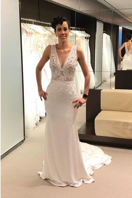 Anneprom Mermaid V-Neck Backless Court Train Ivory Wedding Dress with Lace APW0257