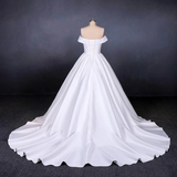 Anneprom Off the Shoulder White Ball Gown Simple Wedding Dress, Satin Bridal Gown APW0258