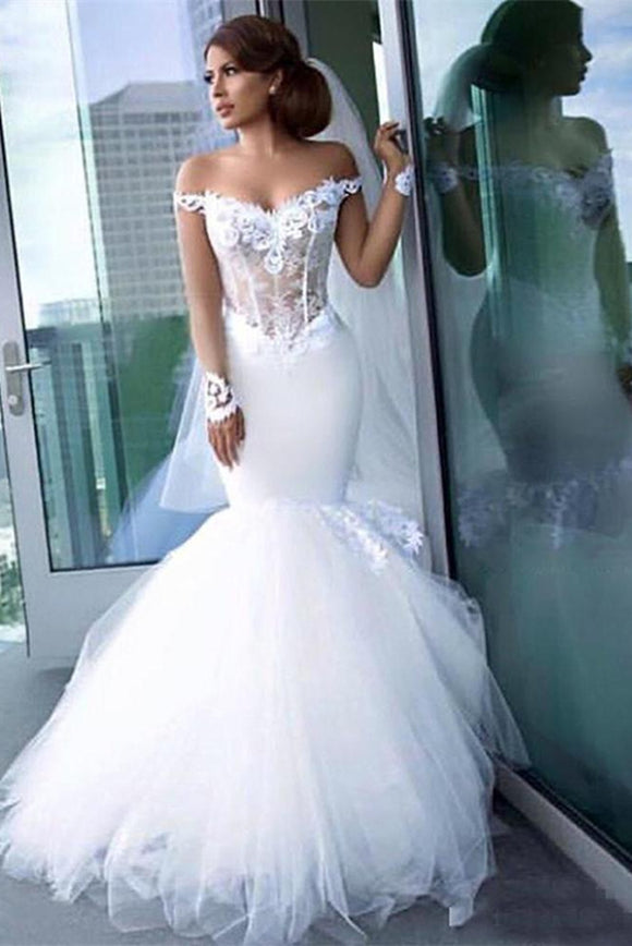Anneprom Mermaid Off the Shoulder Sheer Long Sleeve Wedding Dresses Sexy Bride Gowns APW0265