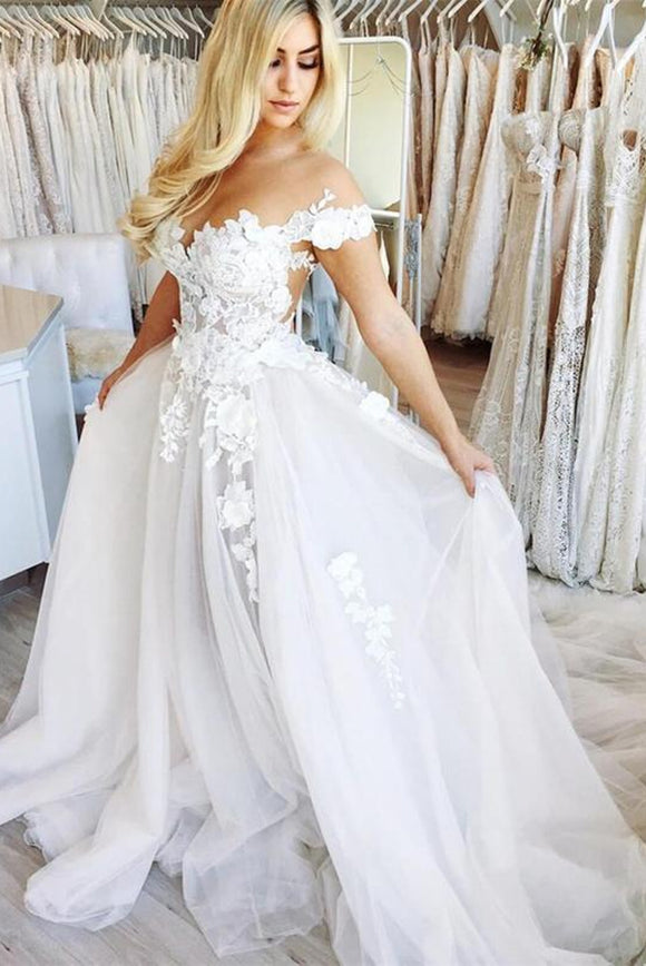 Anneprom White Off-the-Shoulder See Through Chiffon Wedding Gowns Cap Sleeve Lace Bridal Dress APW0268