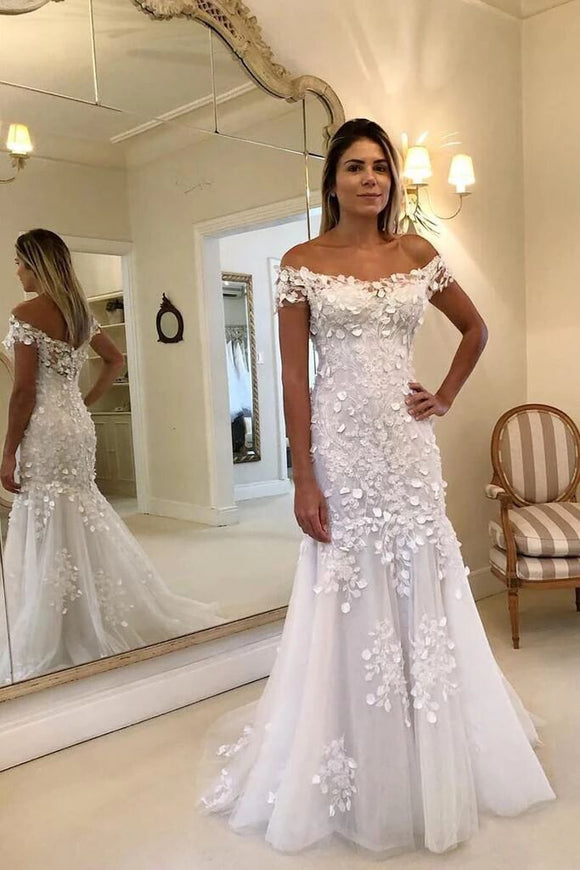 Anneprom Off The Shoulder Sheath Mermaid Wedding Dresses Lace Appliques Wedding Gowns  APW0275