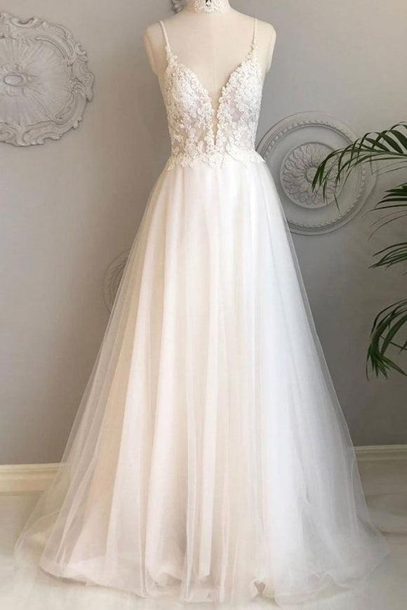Anneprom A Line Spaghetti Straps Beach Wedding Dresses Lace Wedding Gowns APW0276
