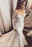 Anneprom Trumpet/Mermaid Ivory Lace Wedding Dress Sweep/Brush Train Scoop Long Sleeve Wedding Dress APW0280