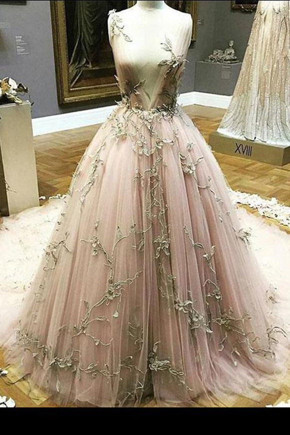 Anneprom Blush Prom Dress Applique Deep V neck Sweep/Brush Train Pink Prom Dresses Long Evening Dress APW0282