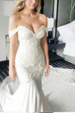 Anneprom Mermaid Off-the-Shoulder Ivory Lace Long Cheap Sweetheart Backless Plus Size Wedding Dress APW0303
