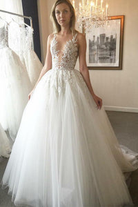Anneprom Elegant Ball Gown Round Neck Ivory Open Back Wedding Dress with Appliques,Bridal Dresses APW0305