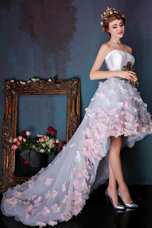 Anneprom Charming Sweetheart Flowers Strapless Tulle Asymmetry Prom Dresses,Wedding Dresses APW0307
