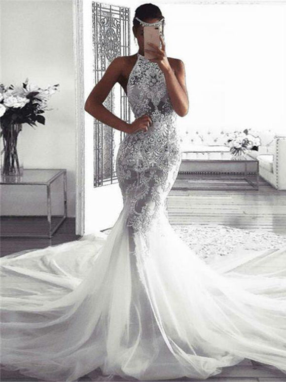 Anneprom Sexy Sleeveless Wedding Dresses with Lace Mermaid Bridal Dresses with Chapel Train APW0315
