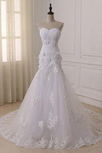Anneprom Strapless Sweetheart Ruched Floral Appliqués Tulle Mermaid Wedding Dress Featuring Lace-Up Back APW0318