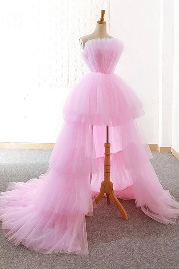Anneprom A-line Pink High Low Prom Dress Tulle Formal Dresses Evening Gowns APW0324