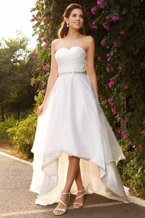 Anneprom A-Line Sweetheart High Low Satin Wedding Dress With Beading APW0138