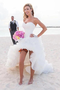 Anneprom Vintage High Low Beach Weddign Dresses Strapless White Wedding Dresses APW0140