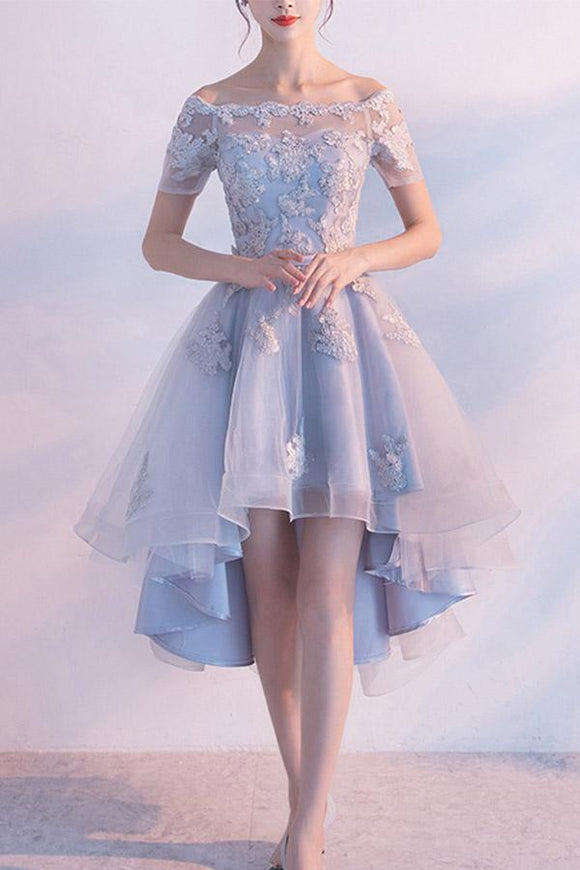 Anneprom High Low Homecoming Dress Off-The-Shoulder Tulle Short Prom Dress APP0280