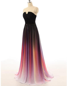 Anneprom New Cheap Gradient Ombre Chiffon Prom Dress Evening Dress Strapless With Pleats Women Dress APP0404