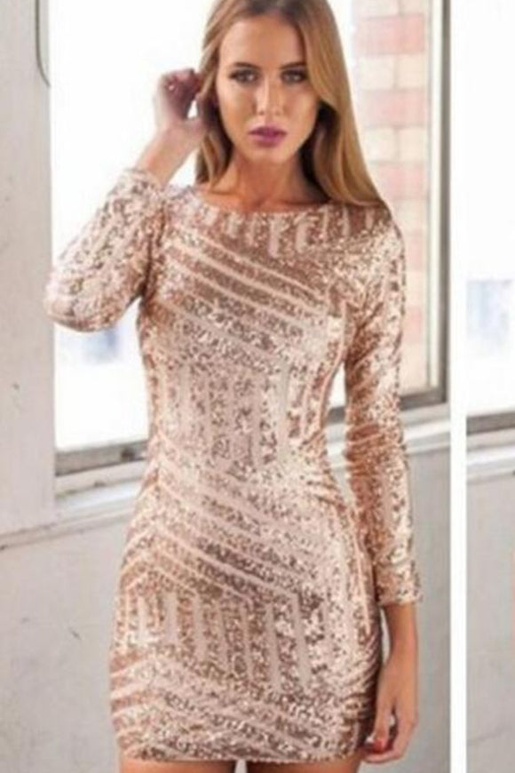Anneprom Rose Gold Sequins Homecoming Dresses,Long Sleeves Open Back Homecoming Dresses,Sexy Mini Prom Dresses,Short Club Dresses APH0050