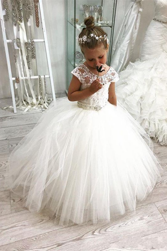 Anneprom White Ball Gown Flower Girl Dresses For Weddings Jewel Backless Short Sleeve Kids Dresses APF0001