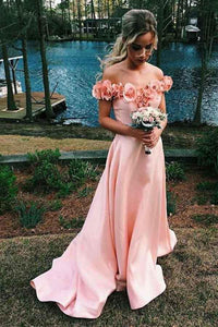 Anneprom Off-The-Shoulder Sweep Train Pink Satin Prom Dress With Flowers APP0227