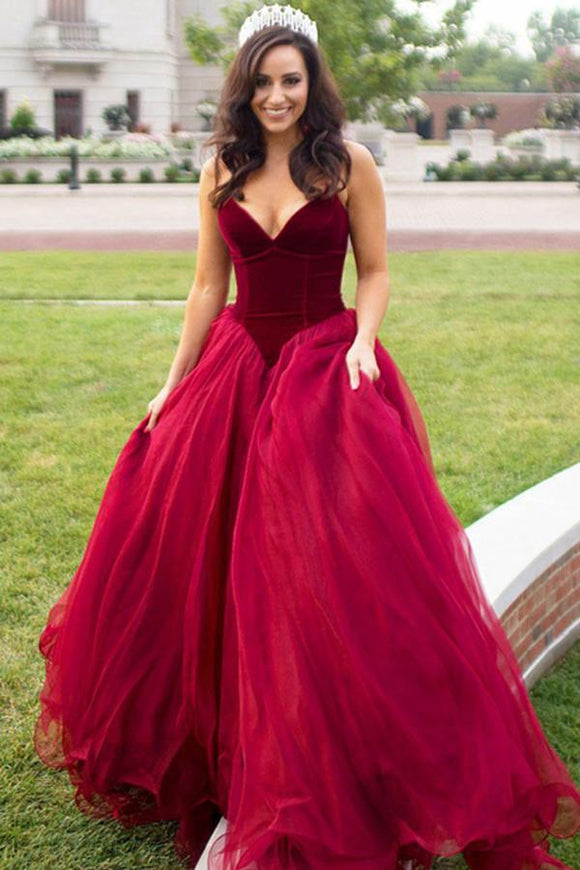 Anneprom Ball Gown Sweetheart Sweep Train Dark Red Tulle Prom Dress APP0229