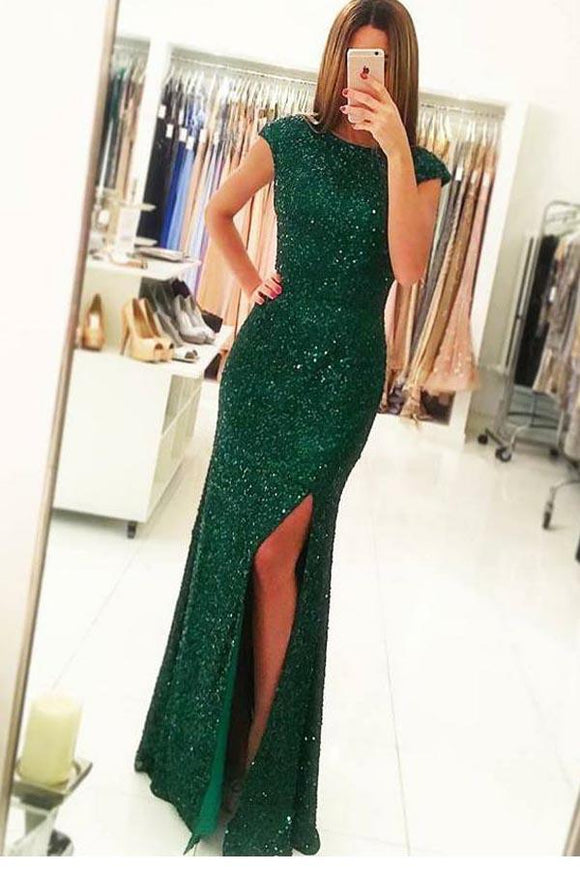 Anneprom Mermaid Cap Sleeves Dark Green Open Back Sequin Prom Dresses APP0230