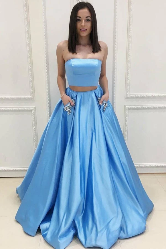 Anneprom Two Piece Strapless Sweep Train Blue Satin Prom Dresses With Pockets APP0233
