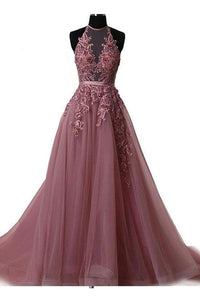 Anneprom Halter Blush Train Simple Prom/Evening Dress With Lace Applique APP0284