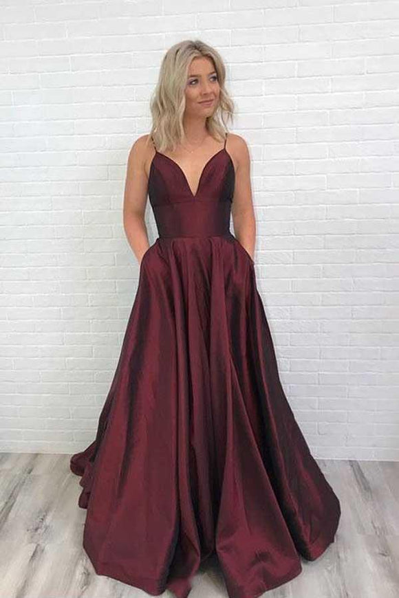 Anneprom Charming Satin Prom Dress Burgundy Prom Dress V Neck Prom Dress APP0277