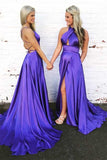 Anneprom Gorgeous Halter Satin Long Prom Dress Evening Dress With Open Back APP0282