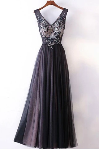 Anneprom Long Prom Dresses Straps V-Neck A-Line Embroidery Sexy Black Prom Dress APP0288