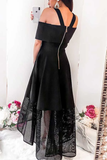 Anneprom A-Line Cold Shoulder High Low Black Homecoming Dress With Lace APP0307