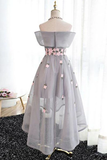 Anneprom Off-The-Shoulder High Low Grey Tulle Homecoming Draess With Appliques APP0309