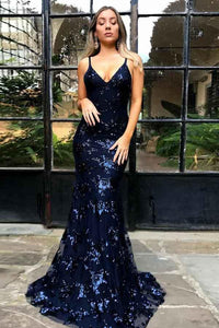Anneprom Mermaid Spaghetti Straps Navy Blue Backless Tulle Appliques Prom Dress APP0318