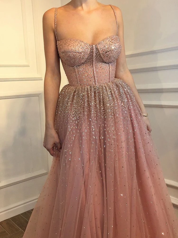 Anneprom Spaghetti Straps Prom Dress A-line Rhinestone Pink Modest Long Prom Dresses/Evening Dress APP0362