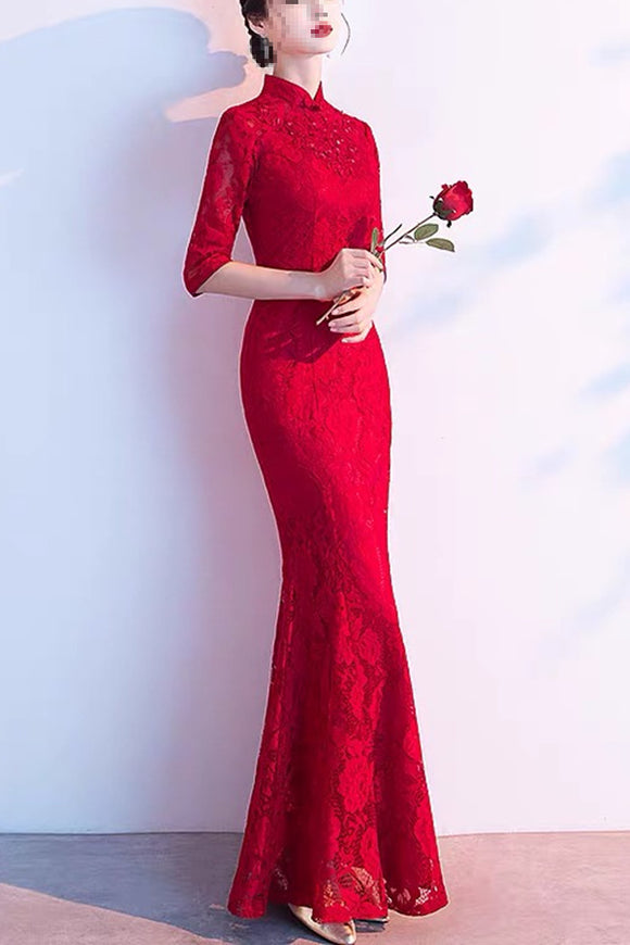 Anneprom High Neck Sweep Train Chiffon Red Prom Dress Evening Gowns With Beading APP0372