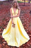 Anneprom Simple V Neck Straps Long Unique Yellow Satin Prom Dresses APP0422