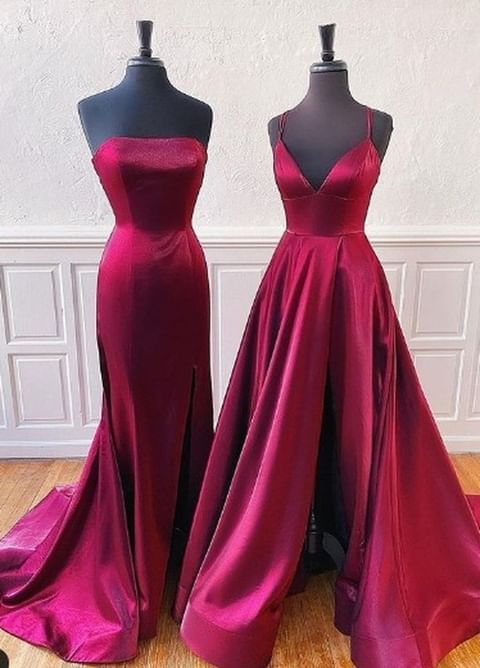 Anneprom A-line Spaghetti Straps Tulle Long Lace red Prom Dresses APP0439