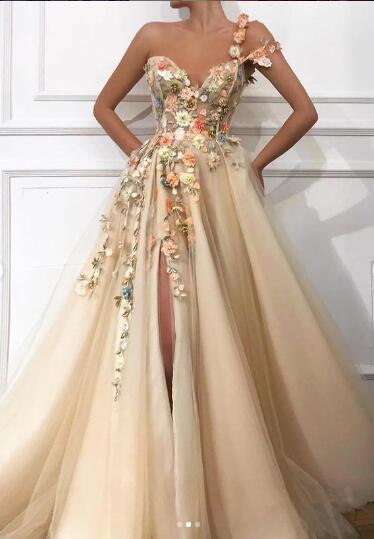 Anneprom Beautiful One Shoulder A Line Tulle Prom Dresses With Flowers APP0441