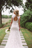 Anneprom Elegant Lace Appliques Wedding Dress With Zipper Button APW0052