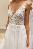 Anneprom V Neck Ivory Vivid Flowers Wedding Dresses With With Unlined Bodice APW0069
