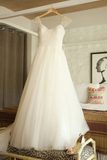 Anneprom Scoop Cap Sleeves Sweep Train Beading Pleated Wedding Dress With Beading APW0105
